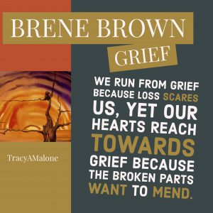 Grief: We run from grief because loss scares us, yet our hearts reach towards grief because the broken parts want to mend.