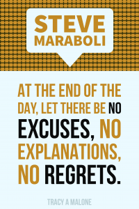 Steve Maraboli: At the end of the day, let there be no excuses, no explanations, no regrets.