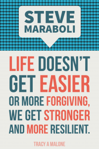 Steve Maraboli: Life doesn't get easier or more forgiving, we get stronger and more resilient.
