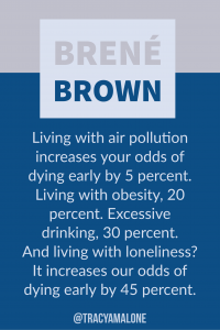 Living with air pollution increases your odds of dying early by 5 percent. Living with obesity, 20 percent. Excessive drinking, 30 percent. And living with loneliness? It increases our odds of dying early by 45 percent.