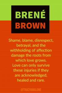 Shame, blame, disrespect, betrayal, and the withholding of affection damage the roots from which the love grows. Love can only survive these injuries if they are acknowledged, healed and rare.