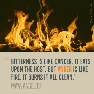 """Bitterness is like cancer. It eats upon the host, but Anger is like fire. It burns it all clean."" - Maya Angelou"