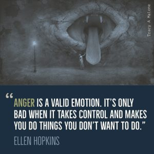 """Anger is a valid emotion. It's only bad when it takes control and makes you do things you don't want to do."" -Ellen Hopkins"