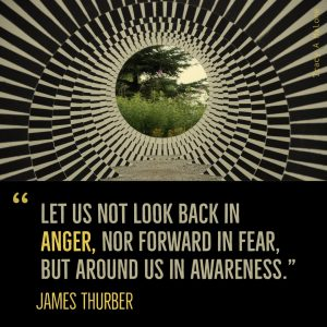 """Let us not look back in Anger, nor forward in fear, but around us in awareness."" -James Thurber"