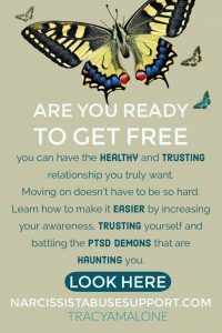 Are you ready to get free? You can have the healthy and trusting relationship you truly want. Moving on doesn't have to be so hard. Learn how to make it easier by increasing your awareness, trusting yourself and battling the PTSD demons that are haunting you.