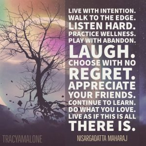 Live with intention. Walk to the edge. Listen hard. Practice wellness. Play with abandon. Laugh. Choose with no regret. Appreciate your friends. Continue to learn. Do what you love. Live as is this is all there is.  - Nisargadatta Maharaj