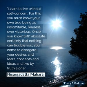 Learn to live without self-concern. For this you must know your own true being as indomitable, fearless, ever victorious. Once you know with absolute certainty that nothing can trouble you, you come to disregard your desires and fears, concepts and ideas and live by truth alone.  - Nisargadatta Maharaj