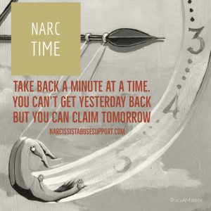 Narc Time - Take back a minute at a time. You can't get yesterday back, but you can claim tomorrow. - NarcissistAbuseSupport.com