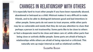 Changes in relationship with others: It is especially hard to trust other people if you have been repeatedly abused, abandoned or betrayed as a child. Mistrust makes it very difficult to make friends, and to be able to distinguish between good and bad intentions in other people. Some parts do not seem to trust anyone, while other parts may be so vulnerable and needy that they do not pay attention to clues that perhaps a person is not trustworthy. Some parts like to be close to others or feel a desperate need to be close and taken care of, while other parts fear being close or actively dislike people. Some parts are afraid of being in relationships while others are afraid of being rejected or criticized. This naturally sets up major internal as well as relational conflicts. - Suzette Boon