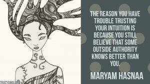 The reason you have trouble trusting your intuition is because you still believe that some outside authority knows better than you. - Maryam Hasnaa