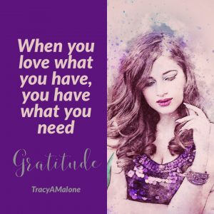 Gratitude - When you love what you have, you have what you need. - Tracy A. Malone