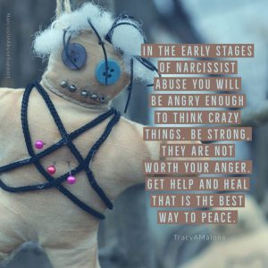 In the early stages of narcissist abuse you will be angry enough to think crazy things. Be strong. They are not worth your anger. Get help and heal that is the way to peace. - Tracy A Malone