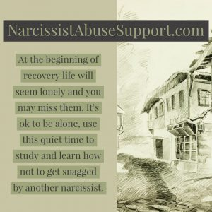 At the beginning of recovery life will seem lonely and you may miss them. It's ok to be alone, use this quiet time to study and learn how not to get snagged by another narcissist. - NarcissistAbuseSupport.com