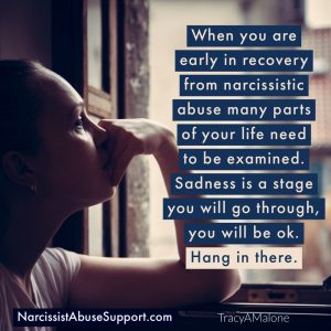 When you are early in recovery from narcissistic abuse many parts of your life need to be examined. Sadness is a stage you will go through, you will be ok. Hang in there. - Narcissistabusesupport.com