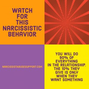Watch for this Narcissistic Behavior - You will do 90% of everything in the relationship. The 10% they give is only when they want something. - NarcissistAbuseSupport.com