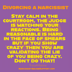 Divorcing a Narcissist - Stay calm in the courtroom, the judge is watching your reactions. Being reasonable is hard in the face of smears but if you show 'crazy' then you are validating the lie of you being crazy. Don't do that! | Tracy A Malone - NarcissistAbuseSupport.com