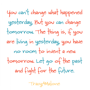 You can't change what happened yesterday, but you can change tomorrow. The thing is, if you are living in yesterday, you have no room to invent a new tomorrow. Let go of the pas and fight for the future. - Tracy A Malone
