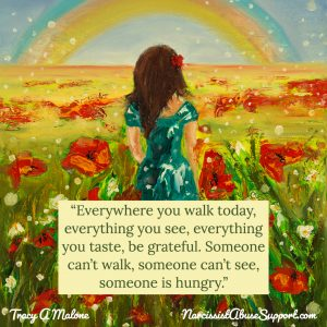 Everywhere you walk today, everything you see, everything you taste, be grateful. Someone can't walk, someone can't see, someone is hungry. - Tracy A Malone, NarcissistAbuseSupport.com