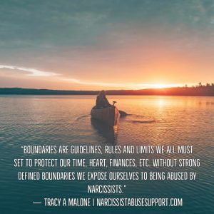 Boundaries are guidelines, rules and limits we all must set to protect our time, heart, finances, etc. Without strong defined boundaries we expose ourselves to being abused by narcissists. - Tracy A Malone, NarcissistAbuseSupport.com
