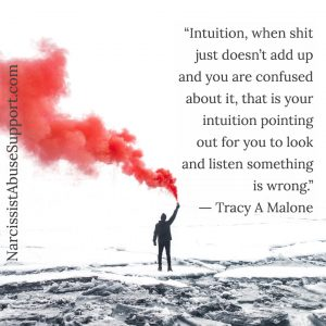 Intuition - When shit just doesn't add up and you are confused about it, that is your intuition pointing out for you to look and listen something is wrong. -Tracy A Malone, NarcissistAbuseSupport.com
