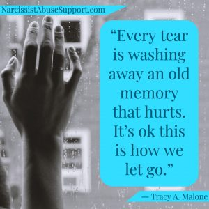 Every tear is washing away an old memory that hurts. It's ok this is we let go. -Tracy A Malone, NarcissistAbuseSupport.com