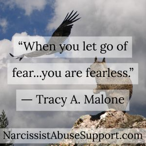 When you let go of fear... you are fearless. - Tracy A Malone, NarcissistAbuseSupport.com