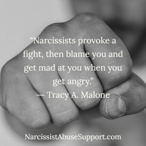 Narcissists provoke a fight, then blame you and get mad at you when you get angry. -Tracy A Malone, NarcissistAbuseSupport.com