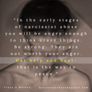In the early stages of narcissist abuse you will be angry enough to think crazy things. Be strong. They are not worth your anger. Get help and heal - that is the way to peace. -Tracy A Malone, NarcissistAbuseSupport.com