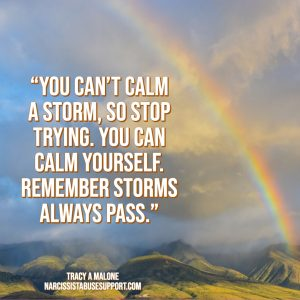 You can't calm a storm, so stop trying. You can calm yourself. Remember storms always pass. - Tracy A Malone, NarcissistAbuseSupport.com
