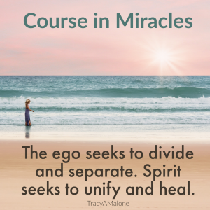 The ego seeks to divide and separate. Spirit seeks to unify and heal. - Course in Miracles
