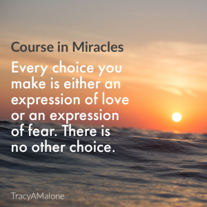 Every choice you make is either an expression of love or an expression of fear. There is no other choice. - Course in Miracles