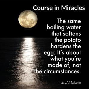The same boiling water that softens the potato hardens the egg. It's about what you're made of, not the circumstances. - Course in Miracles