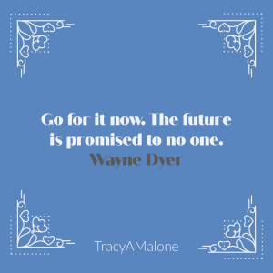 Go for it now. The future is promised to no one. - Wayne Dyer