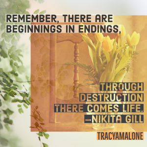 Remember, there are beginnings in endings, through destruction there comes life. - Nikita Gill