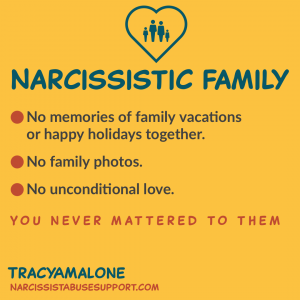 Narcissistic Family - No memories of family vacations or happy holidays together. No family photos. No unconditional love. You never mattered to them. - Tracy A. Malone