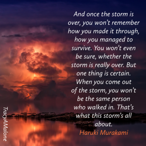 And once the storm is over, you won't remember how you made it through, how you managed to survive. You won't even be sure, whether the storm is really over. But one thing is certain. When you come out of the storm, you won't be the same person who walked in. That's what this storm's all about. - Tracy A. Malone.
