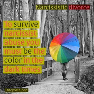 Narcissistic Divorce - To survive narcissist abuse you must be the color in the dark times. - Tracy A. Malone