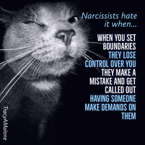 Narcissists hate it when... When you set boundaries they lose control over you, they make a mistake and get called out, having someone make demands on them. - Tracy A. Malone