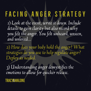 Facing Anger Strategy - 1) Look at the event, write it down. Include details to gain clarity, but also record why you felt the anger. You felt unheard, unseen, and unloved... 2) How does your body hold the anger? What strategies do you use to help regulate anger? Deploy as needed. 3) Understanding anger demystifies the emotions to allow for quicker release. - Tracy A. Malone