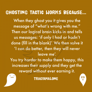 """Ghosting tactic works because... When they ghost you it gives you the message of """"what's wrong with me."""" Then our logical brain kicks in and tells us messages: """"If only I had or hadn't done (fill in the blank)"""". We then solve it """"I can do better, then they will never leave me"""". You try harder to make them happy, this increases their supply and they get the reward without ever earning it. - Tracy A. Malone"""