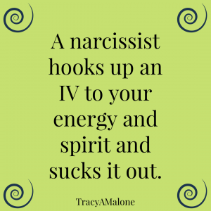 A narcissist hooks up an IV to your energy and spirit and sucks it out. - Tracy A. Malone